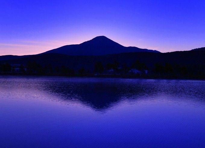 まもなく夜明け 長野県 白樺湖 風景 旅行 写真