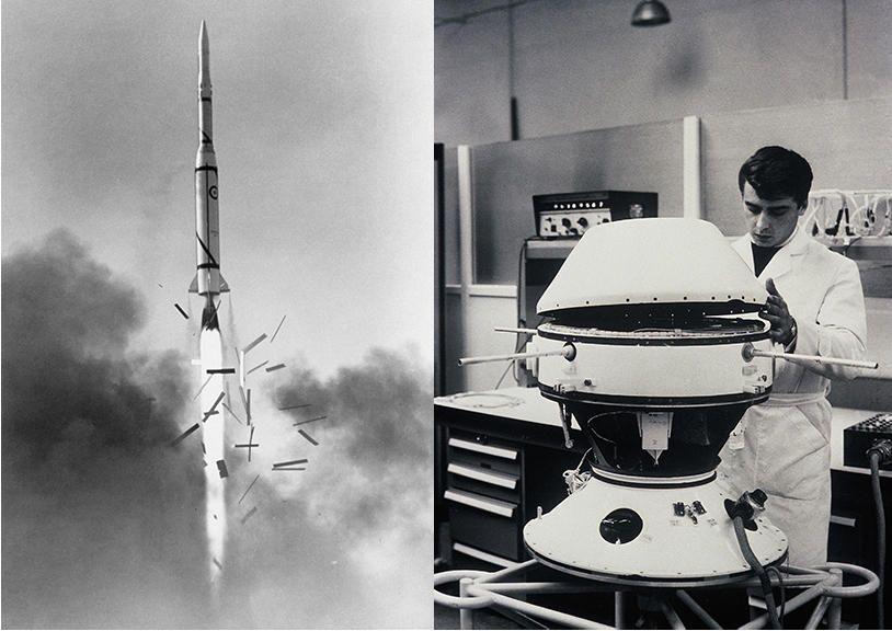 Décollage du lanceur Diamant A-1 depuis le site d'Hammaguir, en Algérie, le 26 novembre 1965 et préparation du satellite Astérix avant son lancement en 1965.  @DMA; SEREB/1965