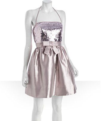 BETSEY JOHNSON - Metallic Pink Sequined Strapless Bow Front Dress