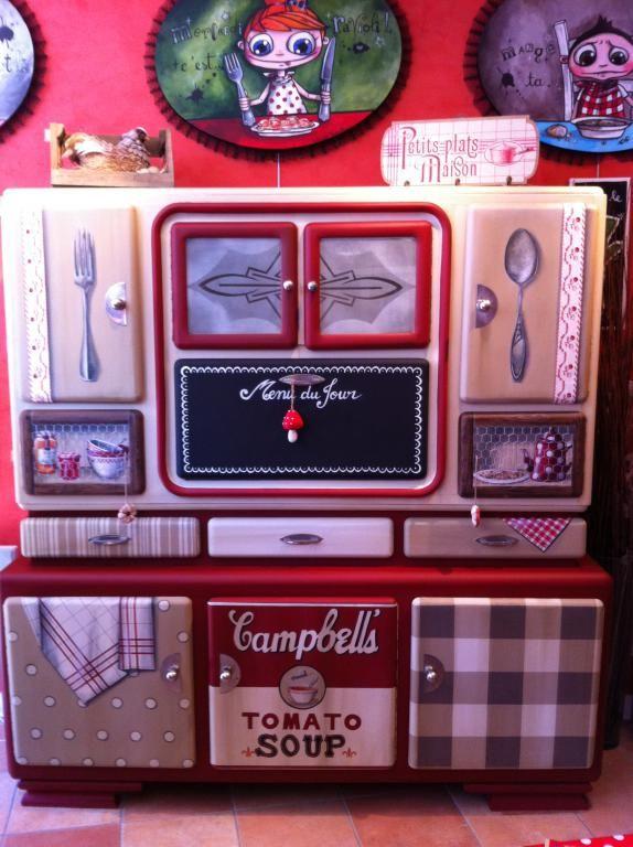 Buffet ann e 50 r tro campbell 39 s relook par mamzelle t r benthine sur rue des relookeurs - Meuble cuisine annee 50 ...