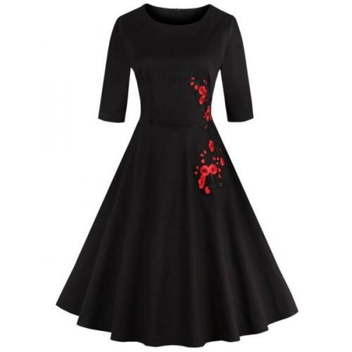 #Retro style round neck floral embroidery  ad Euro 17.31 in #Women dresses vintage dresses #Moda