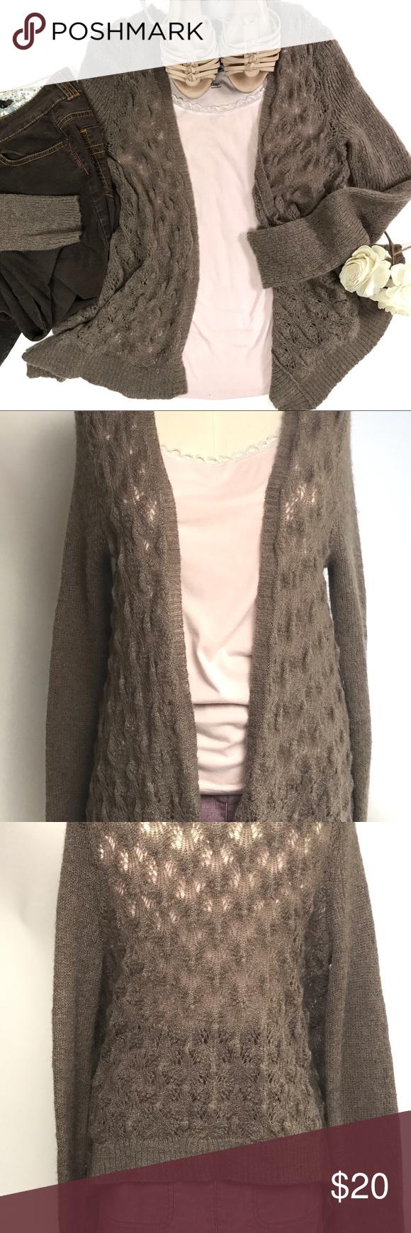 LC Lauren Conrad Brown Flyaway Cardigan Sweater Excellent ...
