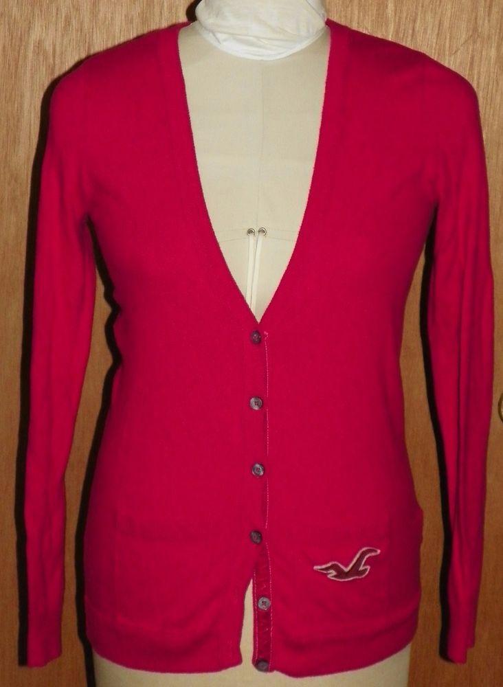 Hollister Hot Pink Magenta Cardigan Sweater Womens Size Large Ebay