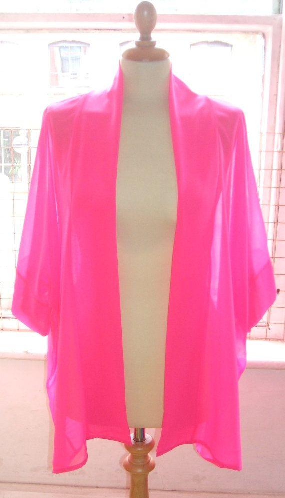 Baylis & Knight Hot Pink Chiffon Mid Length KIMONO Jacket Oversize ...