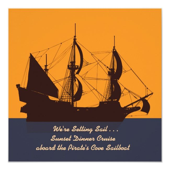 Pirate Ship Silhouette Invitation |  Pirate Ship Silhouette Invitation