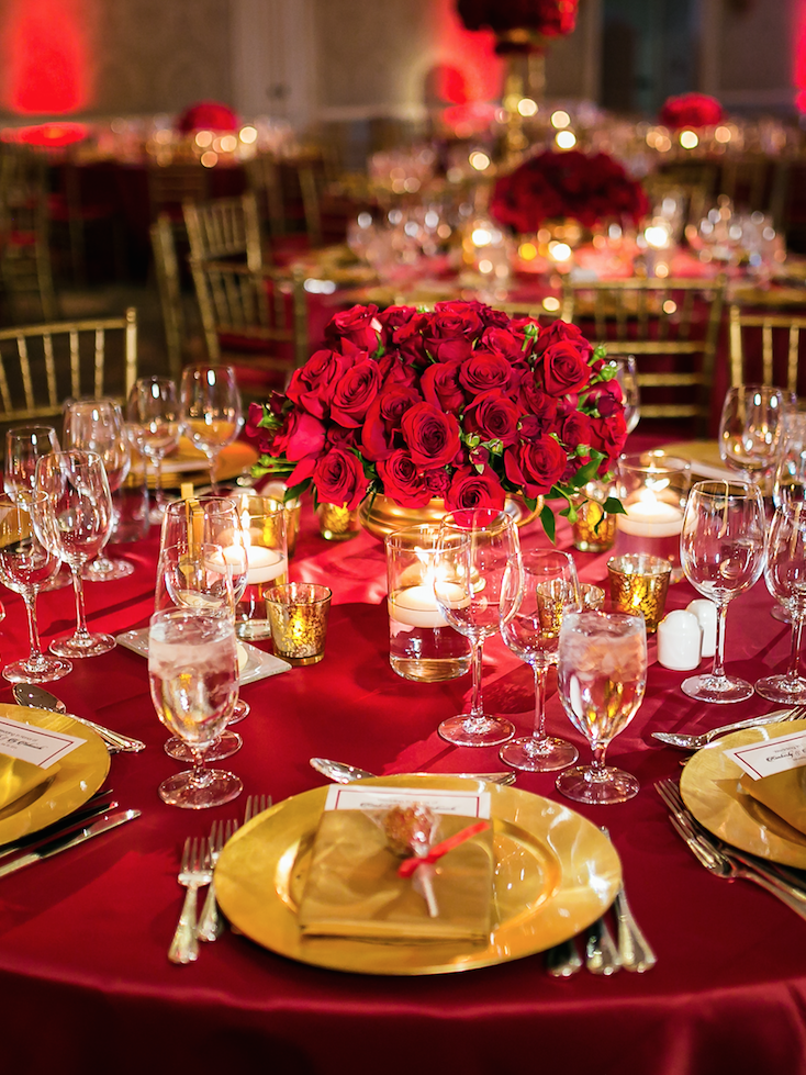Romantic Wedding Filled with Red Roses and Gold Details | Flowers ...