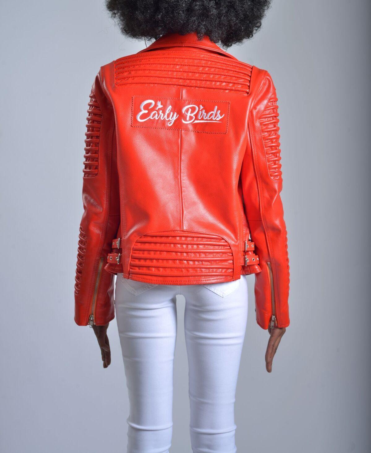 WOMEN MOTO JACKET RED Jackets, Moto jacket, Sweater hoodie