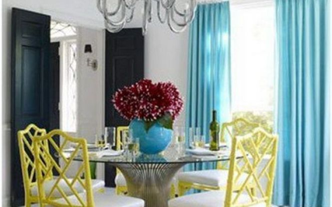 Bright colors and psychedelic designs make this diningroom pop