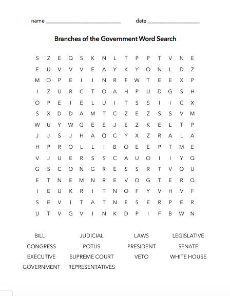 Branches Of The Government Word Search Educationally