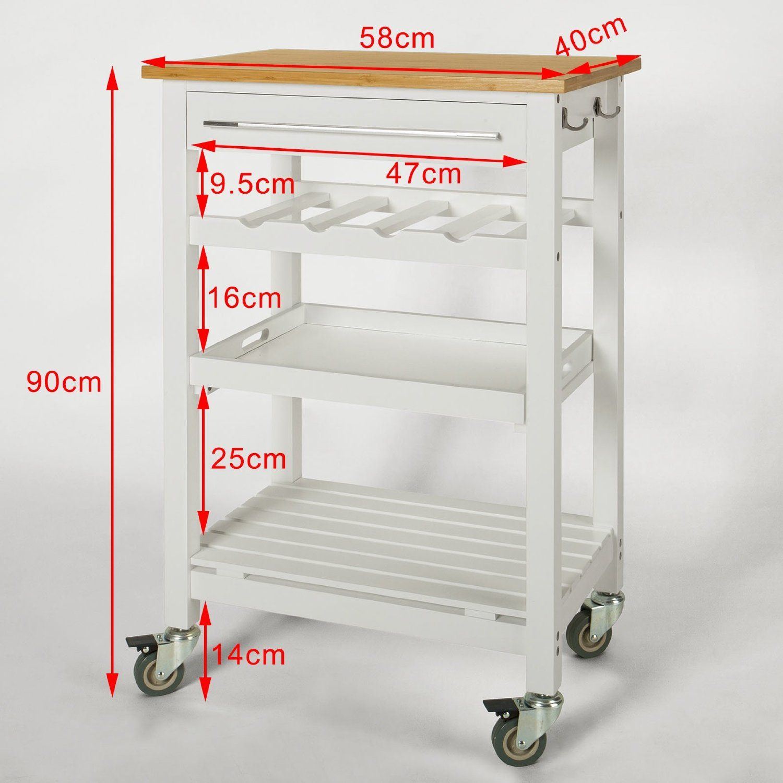 SoBuy® Servierwagen, Küchenwagen aus hochwertigem Bambus mit ...