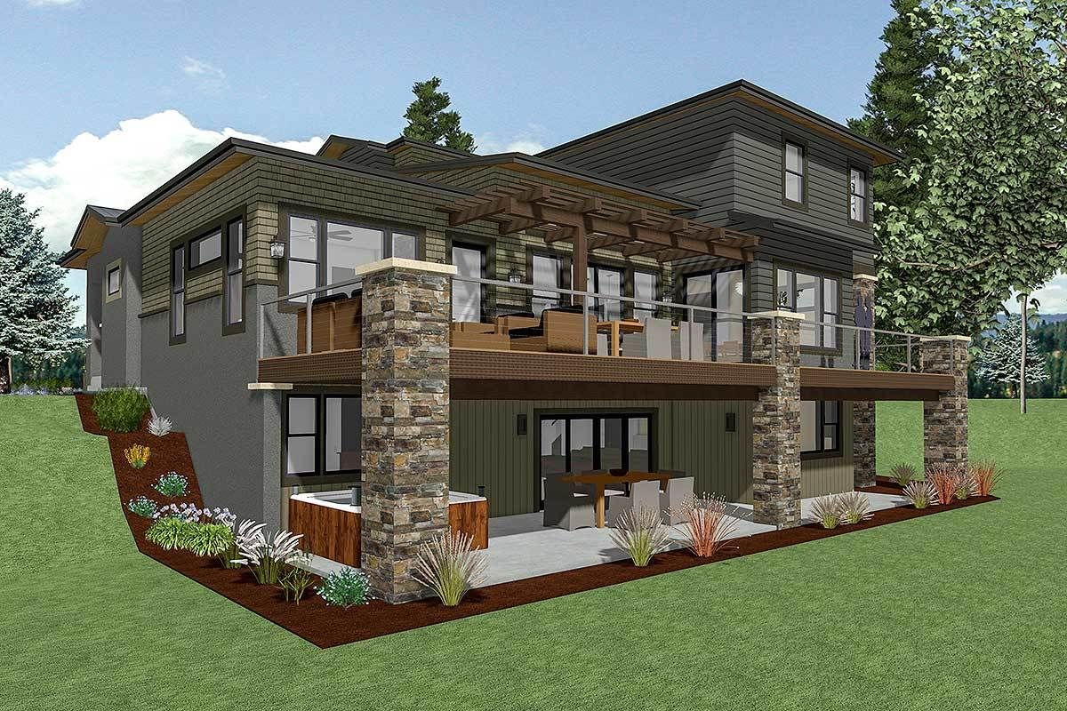 Plan 64452sc House Plan For A Rear Sloping Lot In 2020 Architectural Design House Plans Sloping Lot House Plan Basement House Plans