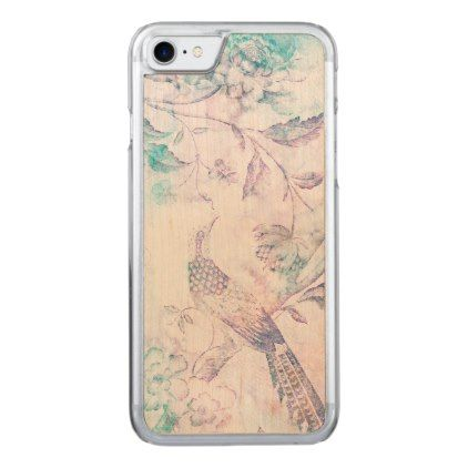 Teal & Pink Watercolor Trees Bird & Butterfly Carved iPhone 8/7 Case - flower gifts floral flowers diy
