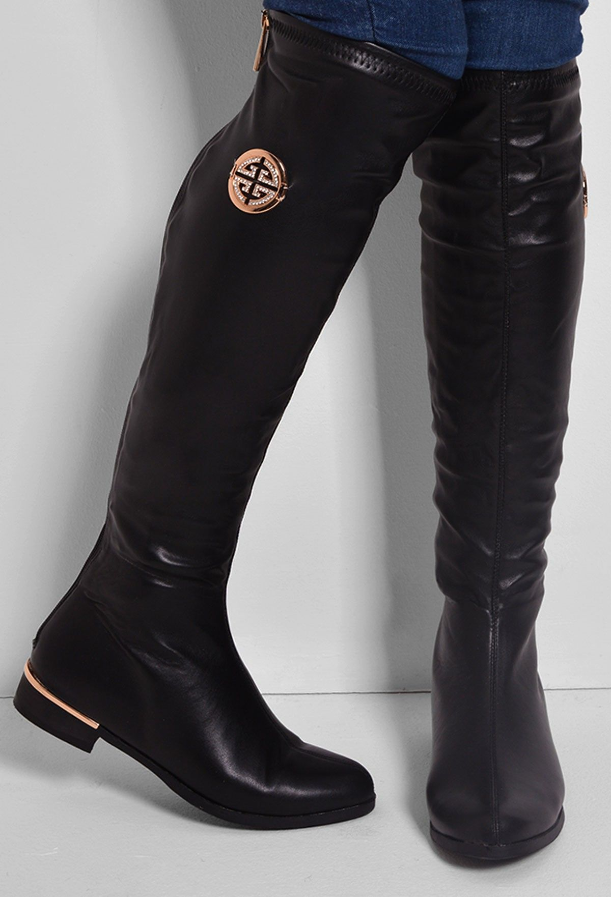 Knee High Boots Black Leather