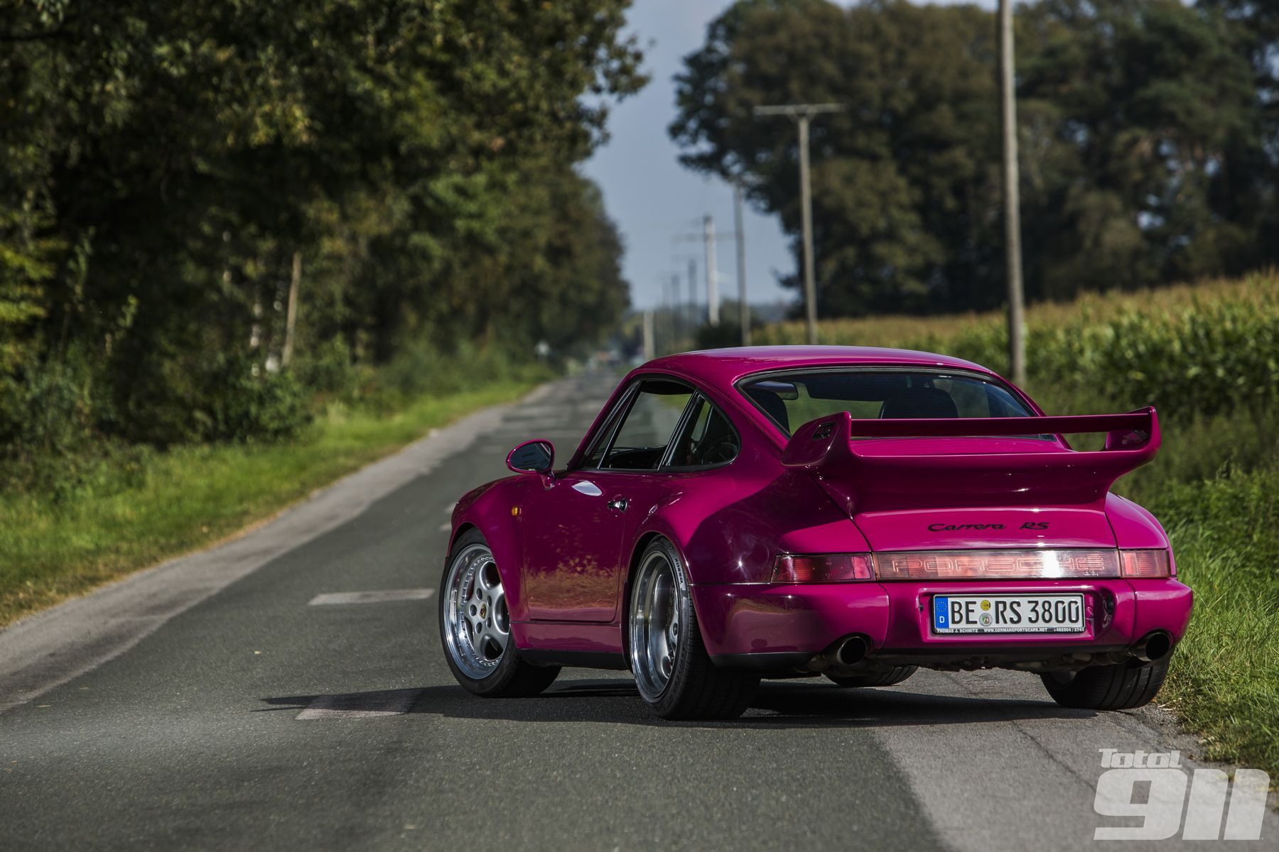 An acquired taste. What do you make of this Rubystone Red Porsche 964 RS with a 993 RS engine?