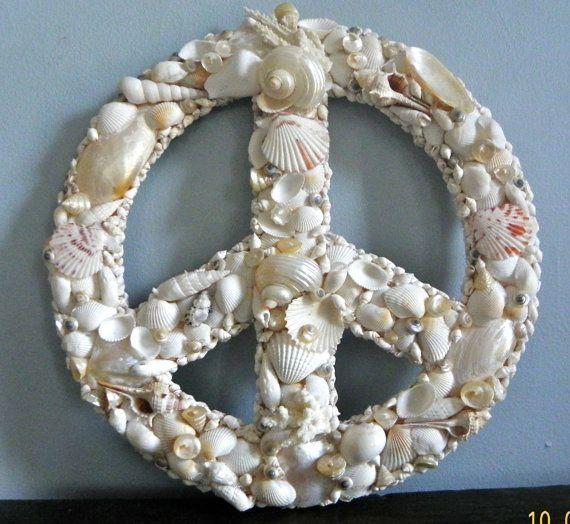 Beach Peace Sign Beach Decor Seashell Encrusted Peace