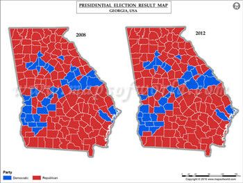 Georgia Election Results Map 2008 Vs 2012 | USA President\'s Election ...