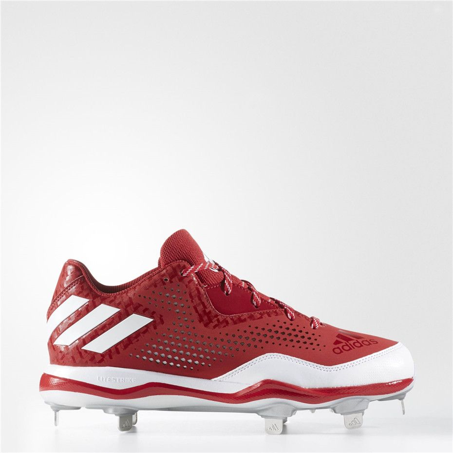 competitive price 5f66e 69267 Adidas PowerAlley 4 Cleats (Power Red   Running White   Metallic Silver)