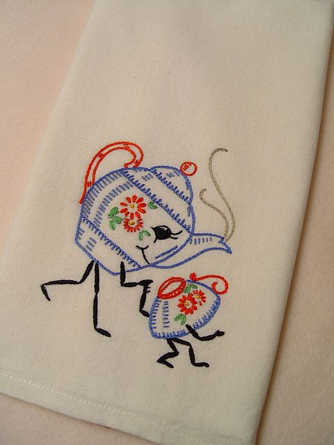 Friendship Tea   Hand Embroidered Kitchen Towel With Vintage Embroidery  Design By Needle N