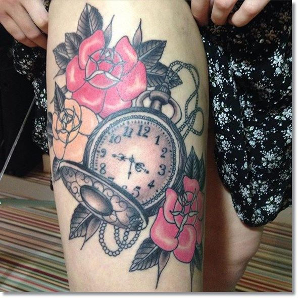 75 brilliant pocket watch tattoo designs ever made tatueringar. Black Bedroom Furniture Sets. Home Design Ideas
