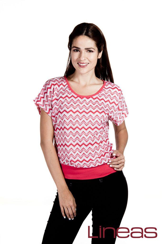 Playera, Modelo 18811. Precio $100 MXN #Lineas #outfit #moda #tendencias #2014 #ropa #prendas #estilo #primavera #outfit #playera