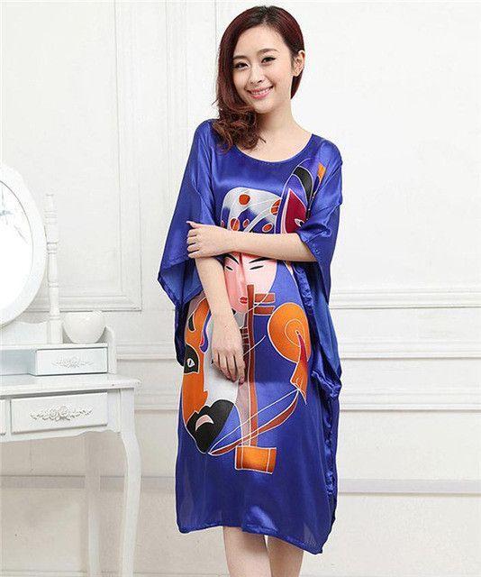 Hot Sale Purple Summer Chinese Women s Nightgown Silk Rayon Bath Robe Dress  Kimono Gown Flower Sleepwear Plus Size 6XL S0110 c0b2ecf70
