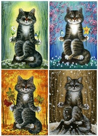 Cat ACEO Autumn Meditation Print by I Garmashova