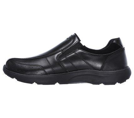 8410791e6367 Skechers Men s Montego Alvaro Memory Foam Bike Toe Slip On Shoes (Black  Leather)