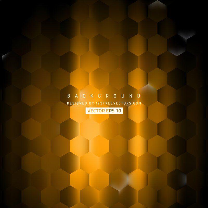 Black Orange Hexagon Background Pattern #freevectors