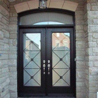 Aluminum Arched French Doors Exterior Fiberglass Doors Woodgrain