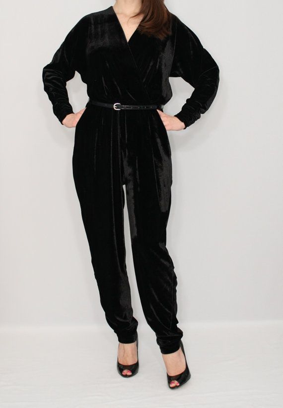 e395b495e10 Black velvet jumpsuit Long sleeve jumpsuit Batwing jumpsuit Prom suit