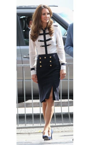Sailor chic! Duchess Catherine looking polished and beautiful as always.  Navy...loving the navy...