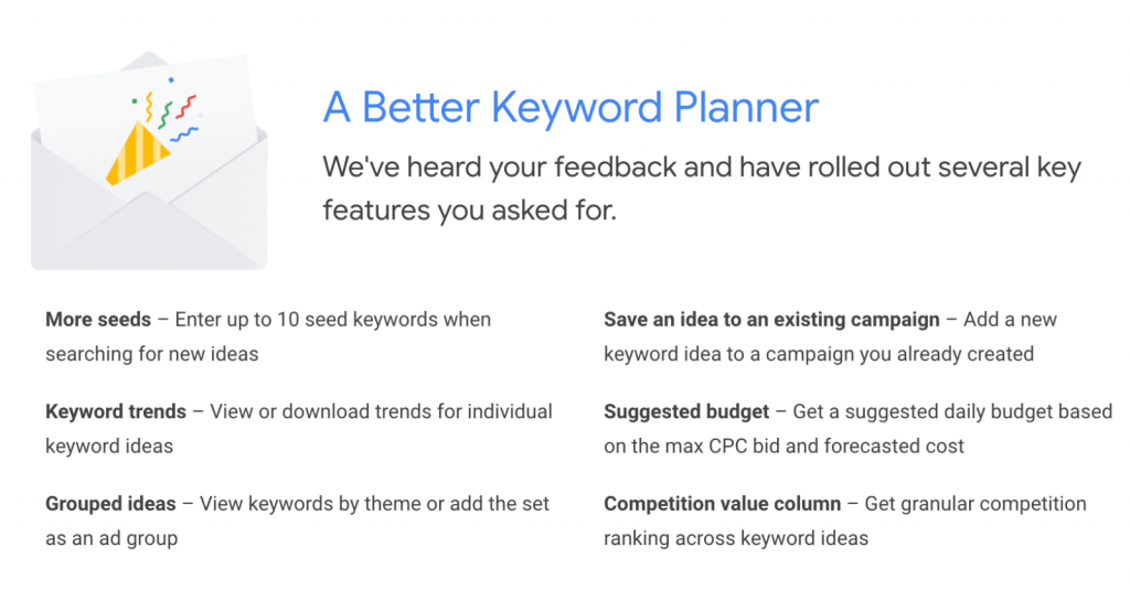 Google Ads Keyword Planner Now Allows Up To 10 Seed Keywords Keyword Planner Google Ads Small Business Advertising