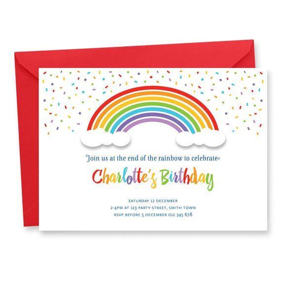 Rainbow Birthday Party Invitation Digital Printable Invite Color Inv