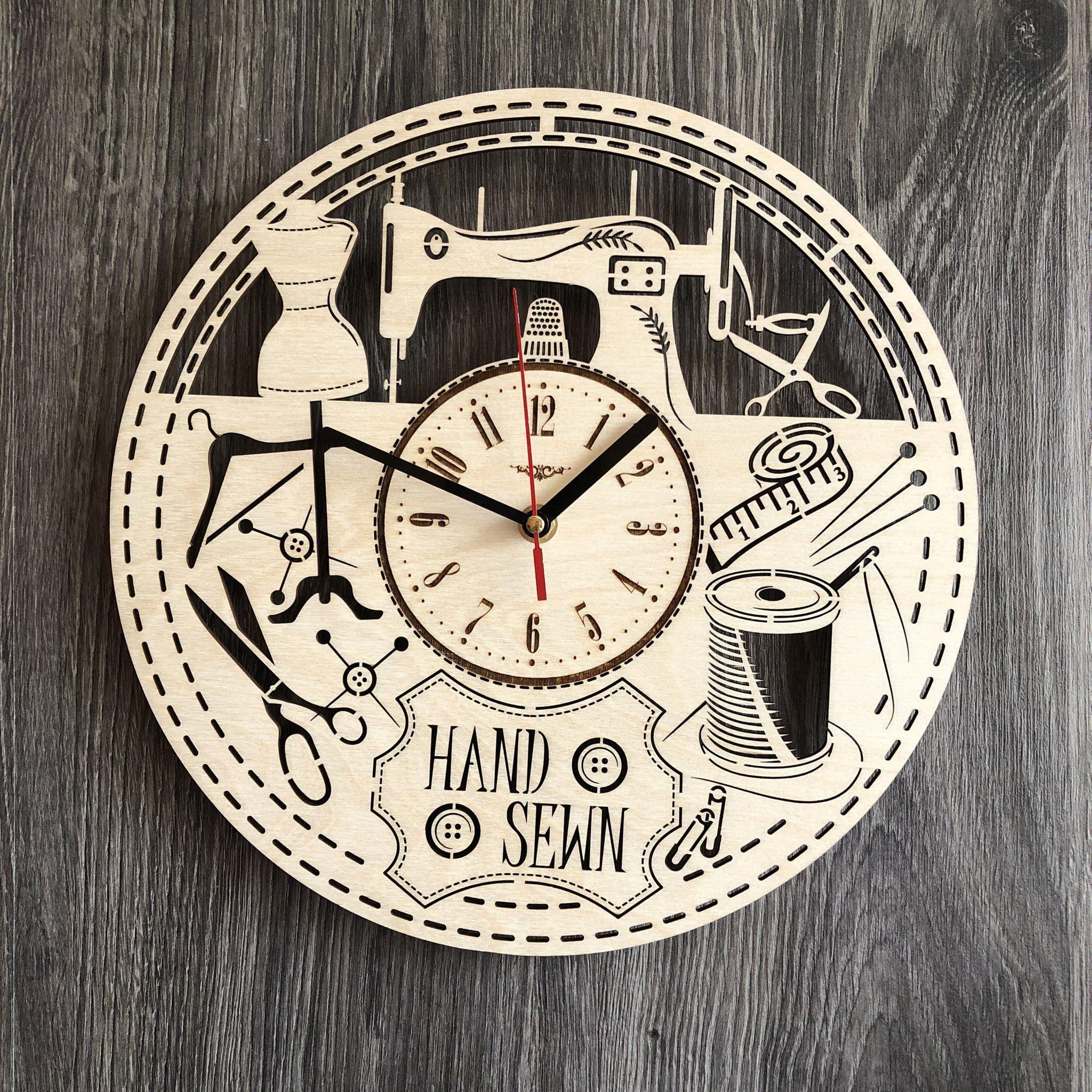 Sewing Wall Wood Clock With Images Wood Clocks Wall Clock Gift Clock Decor