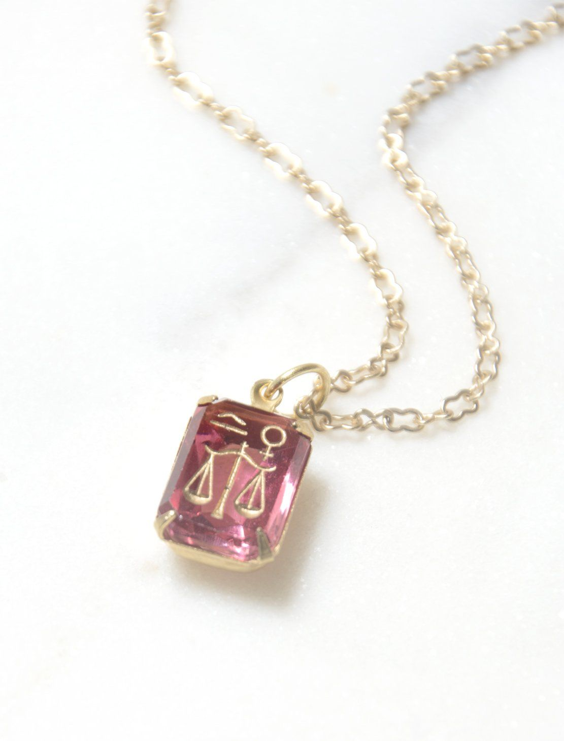 S libra intaglio glass pendant necklace glass pendants