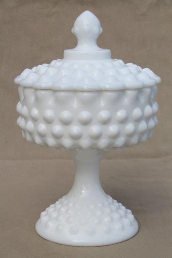 vintage Fenton milk glass candy dish, hobnail patt