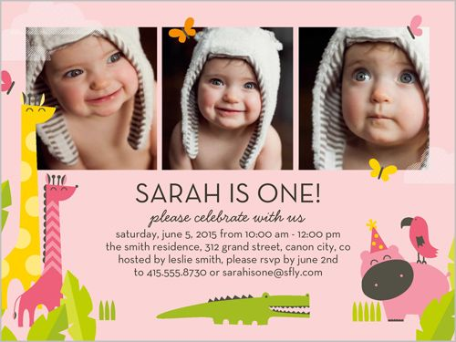 Girls Birthday Invitations Friends And Fun Square Pink - Birthday invitation for one year baby