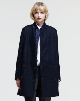 Brunello Cucinelli Dropped Double-Breasted Melange Coat