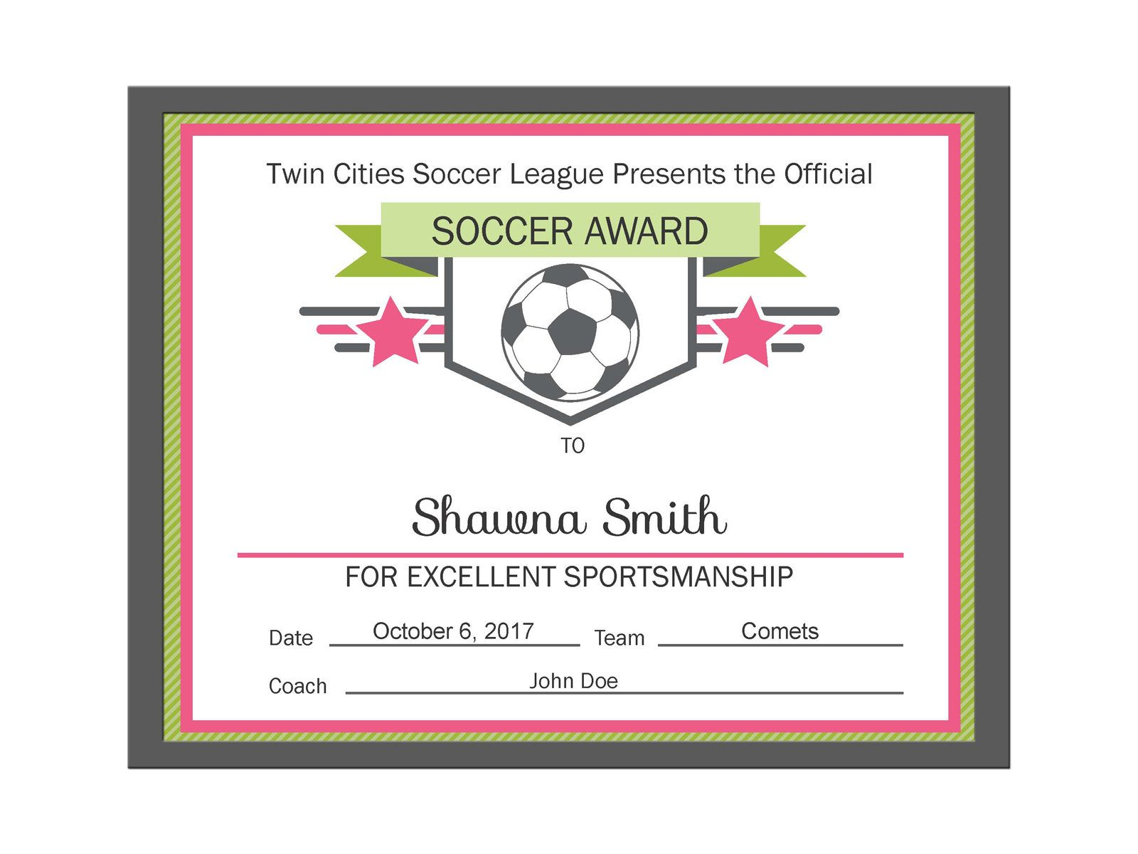 editable pdf sports team soccer certificate award template in 3