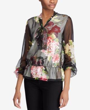 5a74124eff Lauren Ralph Lauren Georgette Tie-Neck Top - Multi S | Products ...