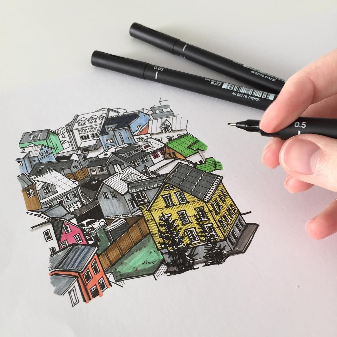 A colourful reykjavik art drawing pen sketch illustration linedrawing