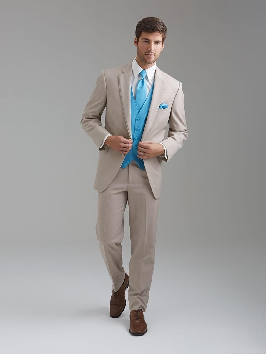 Click to buy ucuc high quality two buttons beige groom tuxedos