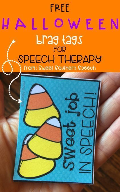 6 Ideas For Halloween In Speech Therapy! Brag tags, Speech therapy - halloween class decoration ideas