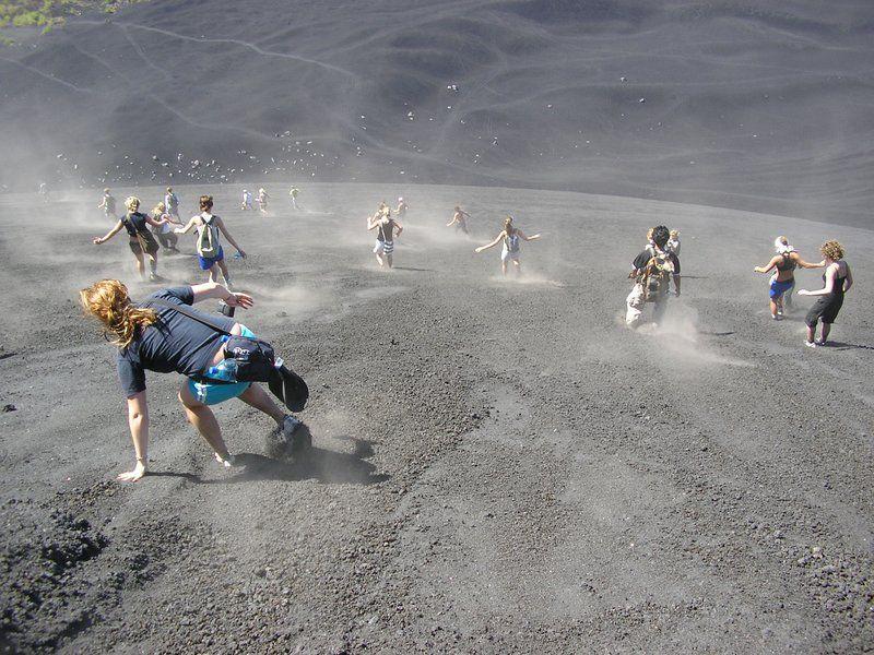 hiking up, then sliding down the cerro negro volcano