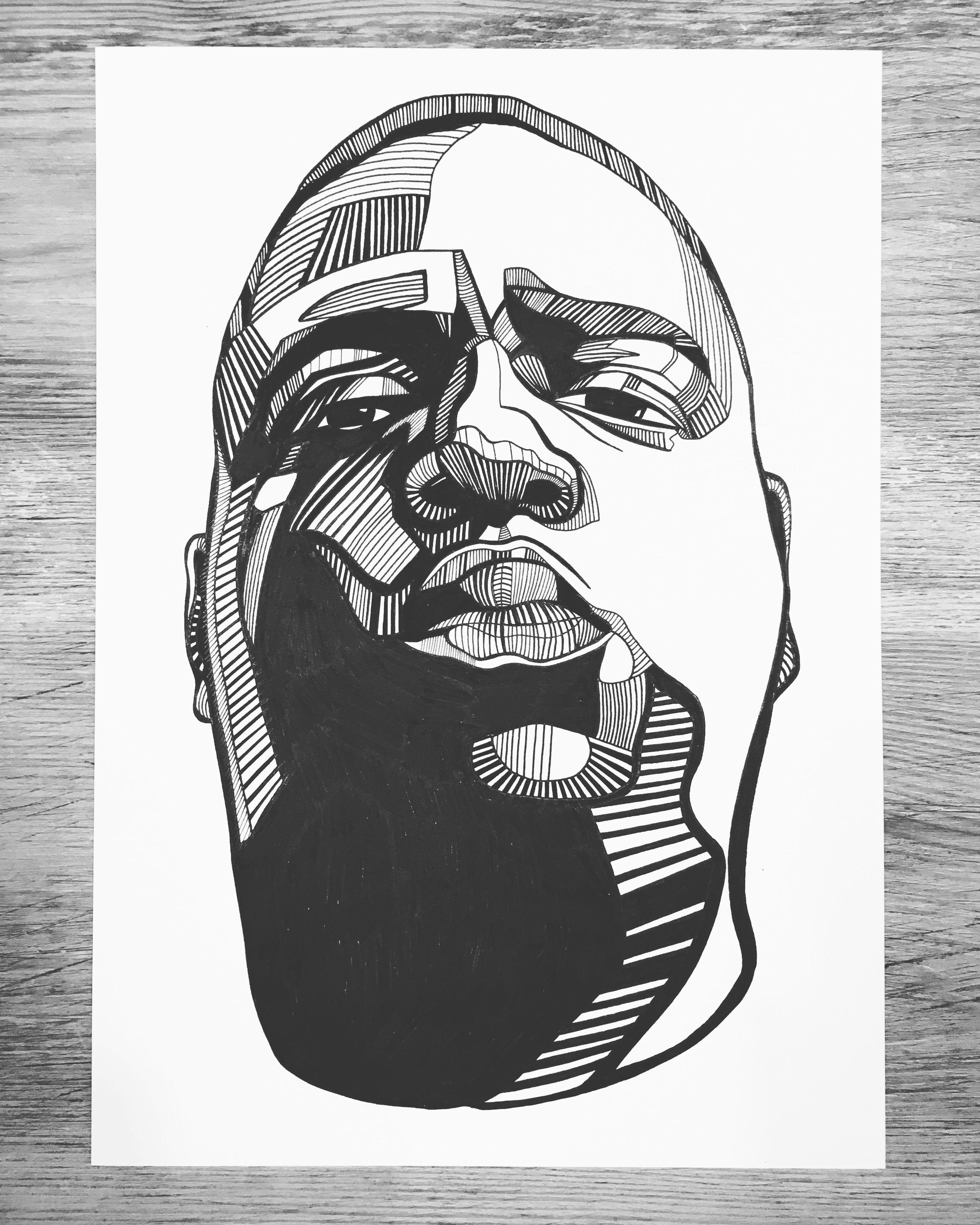 Notorious big line art notoriousbig biggie blackandwhite portrait sketch blackfoxclub
