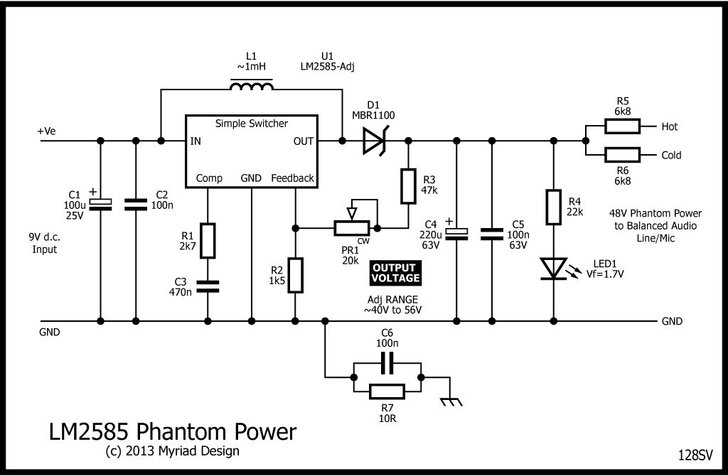 p48 phantom power from 9v d c stompville dc power supply rh pinterest com phantom power blocker schematic phantom microphone power schematic