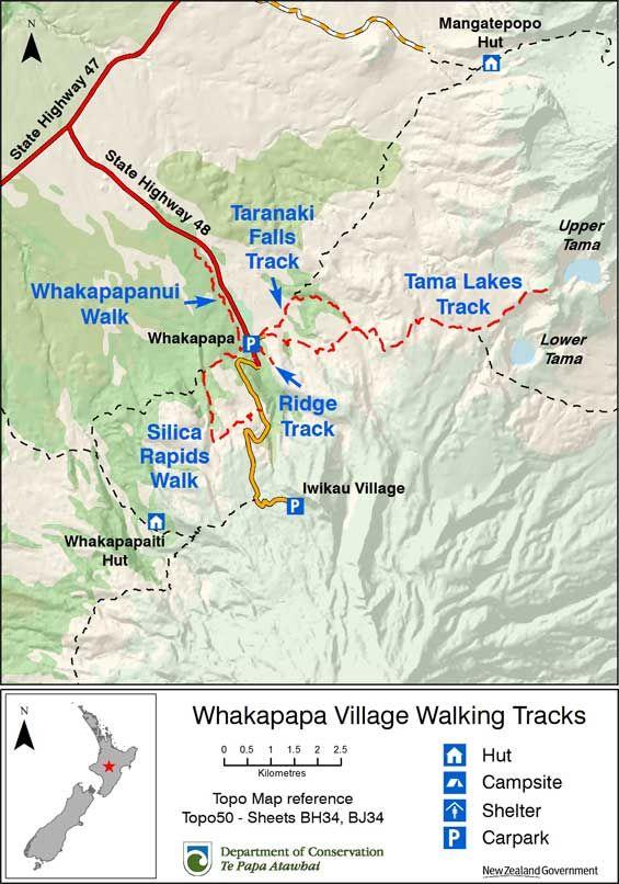 Location map of Whakapapa Village walking tracks NZ tramps