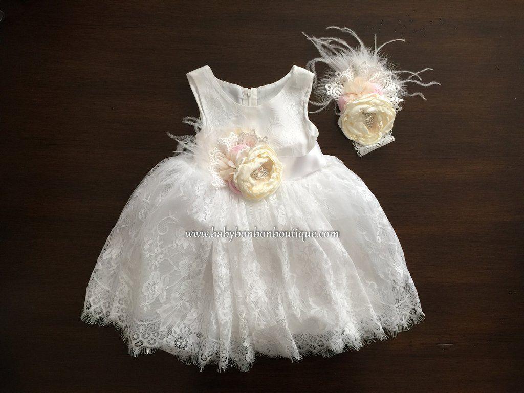 Baby French White Baptism Lace Dress With Headband Amp Sash