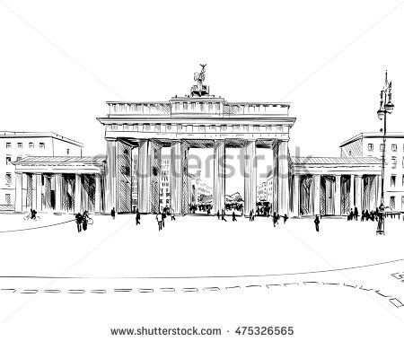 Germany Berlin Brandenburg Gate Old Building Hand Drawn Sketch Unusual Perspective City Vector Illustration Altes Gebaude Hande Zeichnen Bilder