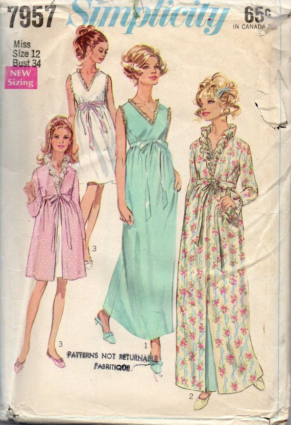beb277d8da Simplicity 7957 1960s Misses Empire Waist Peignoir Robe Negligee Nightgown  womens vintage sewing pattern by mbchills